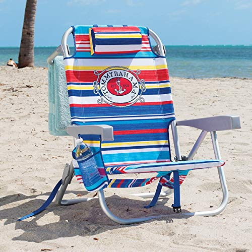 Tommy Bahama Backpack Chair - Insulated Cooler Pouch - 5 Positions (Tropical Stripes)
