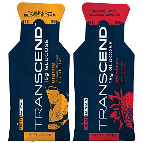 Transcend Glucose Gel Packs - Strawberry & Orange Flavors - 50 Pack (1.1oz Each) - Blood Sugar Support Glucose Gel Packs for Diabetics - Fast Acting, Gluten Free, Precise 15g Dose - Made in The USA
