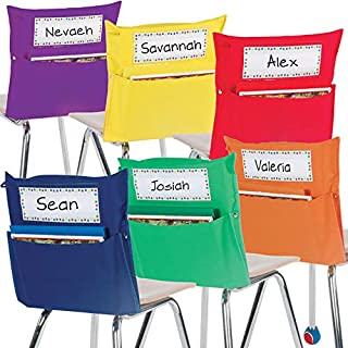 Really Good Stuff Store More Grouping Chair Pockets – Set of 12 - Pocket Chair Organizer Keeps Students Organized and Classrooms Neat - 6 Bright Rainbow Colors