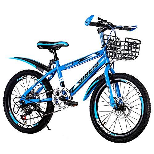 Hadishi Bicicleta para Niños-Bicicleta De Montaña, Bicicletas Plegables para Estudiantes Ligeras Mini Portátiles Bicicletas Plegables para Hombres Y Mujeres A Prueba De Golpes -,Azul,24in
