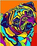 Liushenmeng Kit de Pintura al óleo para Adulto Perro de Color Pintar por Numeros DIY Acrílica Pintura Kit para Adultos y Niños Principiantes 16 * 20 Pulgadas sin Marco