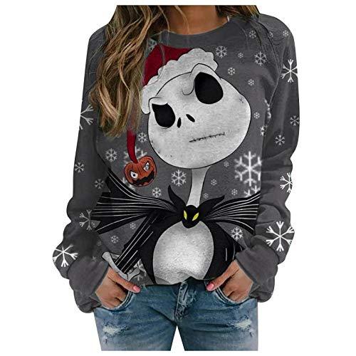 Dosoop Christmas Santa Claus Snowman Reindeer T Shirt Xmas Truck Long Sleeve Blouse Pullover Tops Round Neck Sweatshirt