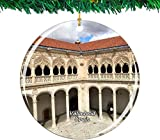 Museo Nacional de Escultura de España Adorno de Navidad de Valladolid Colección de recuerdos de viaje de la ciudad Porcelana de doble cara Decoración de árbol colgante de 2,85 pulgadas