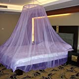 Neruti Enterprise Polyester Adults Double Bed (Round-Canopy) Mosquito Net (Purple)