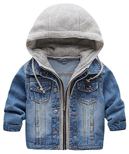 Kid Baby Boys Hooded Lapel Zipper Pocket Denim Jackets Coats Outwears (3-4Years, Blue)