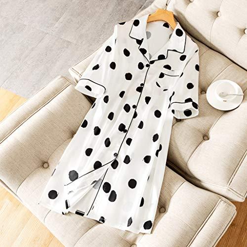 WALNUT Mujer Sueño Robe Camisa Sleepwear Nightdress Lady Home Wear Nightgown Vestido Sedoso Sleepshirts Sueño Top Albornoz (Color : A, Size : XX-Large)