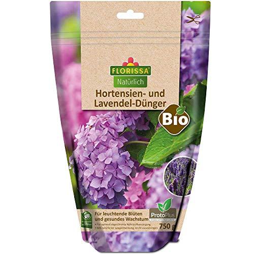 Florissa Natürlich 58736 BIO Dünger für Hortensien und Lavendel mit ProtoPlus im wasserdichten, wiederverschließbaren Beutel   biologisch GÄRTNERN Gütesiegel   haustierfreundlich, Braun