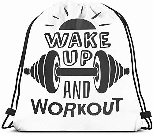 Drawstring Backpack String Bag 14X16 Motivation Text Wake Mainstream Workout Sport Healthcare Medical Gym Recreation Doodle Energy Fun Hard Sun Sport Gym Sackpack Hiking Yoga Travel Beach