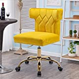 SSLine Elegant Velvet Desk Chair Modern Upholstery Office Computer Chair with Gold Base Wheels Rolling Task Chair w/Chic Wingback & Nailhead for Home Office Study Room (Yellow)
