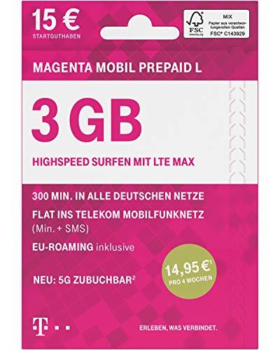 Telekom MagentaMobil Prepaid L SIM-Karte ohne Vertragsbindung I inkl. 3 GB & Flat (Min, SMS) ins Telekom Mobilfunknetz, mit EU-Roaming I Surfen mit LTE Max & HotSpot Flat I inkl. 15EUR Startguthaben