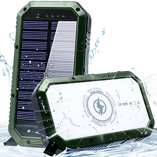 Solar Phone Charger 25000mAh Solar Charger for Cell Phone - Wireless Solar Power Charger Solar Powered Phone Chargers iPhone 6+Times - [Updated] Portable Power Bank -Solar Power Bank (Green)