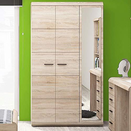 MHF Link II 2 Armario 120 cm de ancho espejo 3 puertas Sonoma roble dormitorio niños moderno