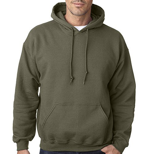 Star and Stripes Plain Military Green Army Colour Hooded Sweatshirts, Army Military Green Military Green Large