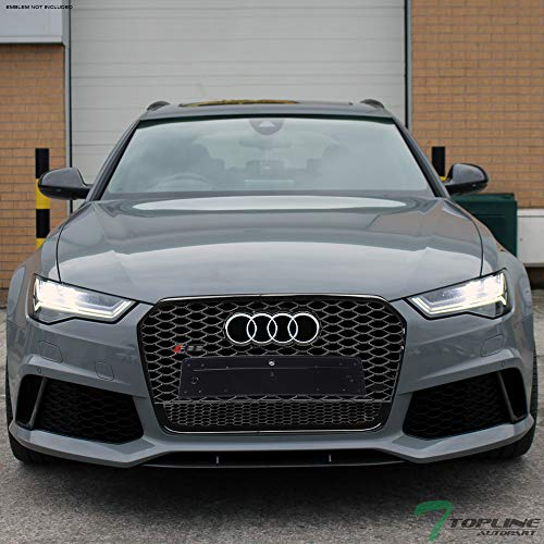 Topline Autopart Glossy Black RS-Honeycomb Mesh Front Hood Bumper Grill Grille ABS For 12-15 Audi A6 C7