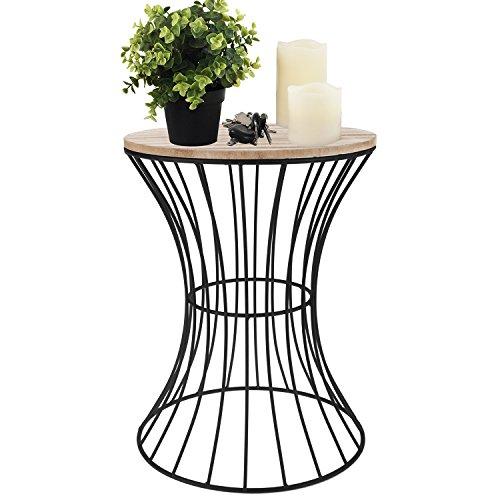 Wohaga® Beistelltisch rund 30xH41cm, schwarzes Metallgestell mit Holzplatte - Couchtisch Wohnzimmertisch Blumentisch Loungetisch