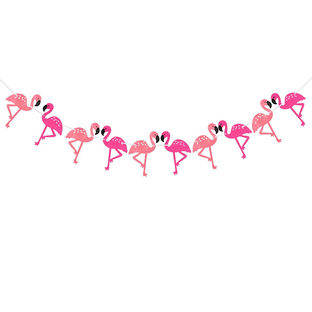 LUOEM Pink Flamingo Banner Hawaiian Tropical Party Garland Party Decoration Flamingo Party Supplies for Beach Summer Tropical Party Theme Decor 3M
