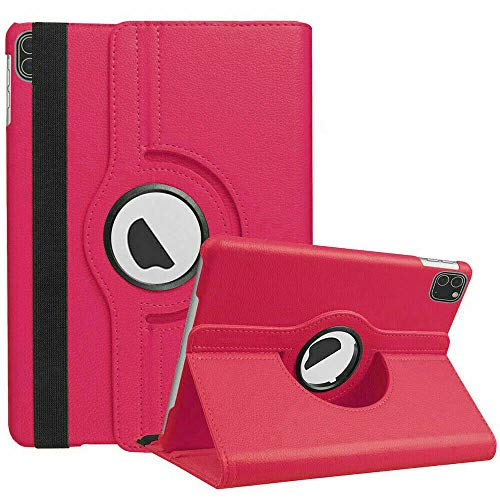MH TECH 360 Rotating PU Leather Smart Stand Case Cover for Apple iPad Air 4 10.9' 2020, iPad Pro 11' 2020/2018 (PINK)