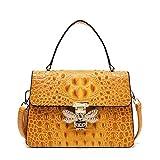 Mdsfe Bolsos de diseñador Mujer Bolsos Cruzados con Cierre de Abeja Tote Marca Famosa Bolso de Cuero con Estampado de cocodrilo Bolso de diseñador para Mujer - Amarillo