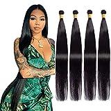 Maxine Brazilian Long Silky Straight Virgin Human Hair 4 Bundles 100% Unprocessed Hair Weave Bundles Extensions Deals 10a Natural Color(26 28 30 32 inches)