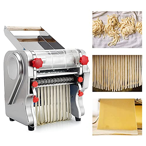 Shikha Electric Noodle Making 750W 110V Pasta Press Maker Machine with Stainless Steel Noodle Dough Roller for Commercial Home(Knife Length 24CM)