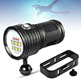 SecurityIng 7 Modes 80m Scuba Diving Underwater Flashlight, Wide Beam Angle Waterproof 7200Lm 6X White + 4X Red + 4X Blue Fill Light Dive Photography Video Torch with Ball Joint -Battery Not Included
