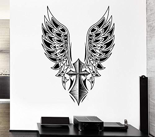 Muursticker kruis engel vleugels Art Vinyl muur muurschildering huis decoratieve gratis schommel muur muurschildering engel vleugels Art Design Wallpaper56x89cm