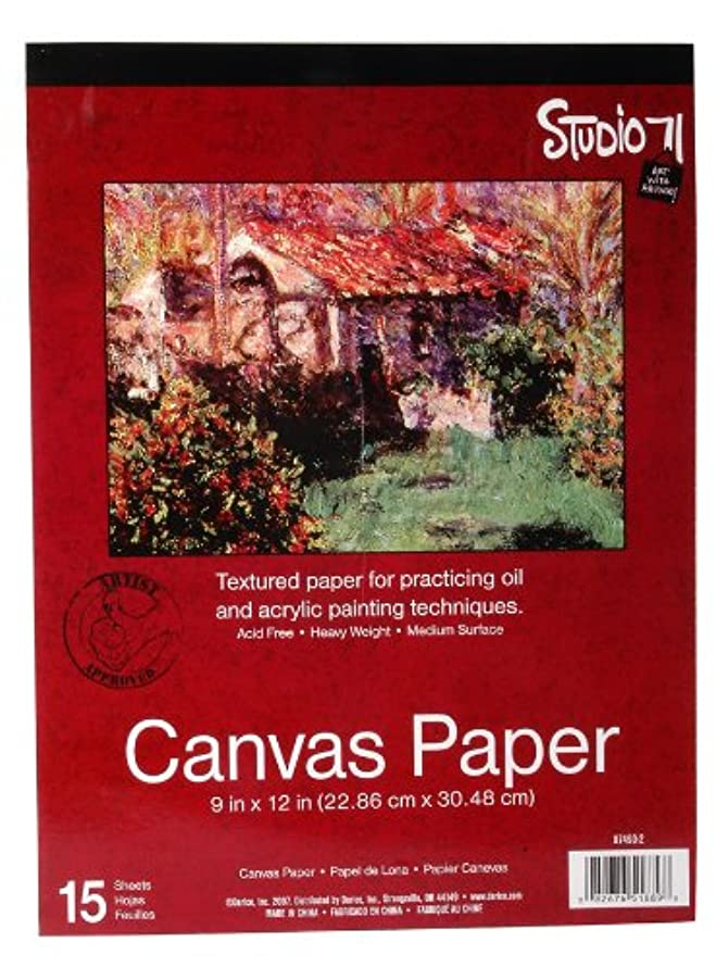 "Darice Canvas Paper Tablet (15 Sheets) – 9""x12"" Textured Paper to Practice Oil and Acrylic Painting Techniques – Acid-Free, Heavy Weight, Medium Surface – Feel of Real Canvas Without the Higher Price"