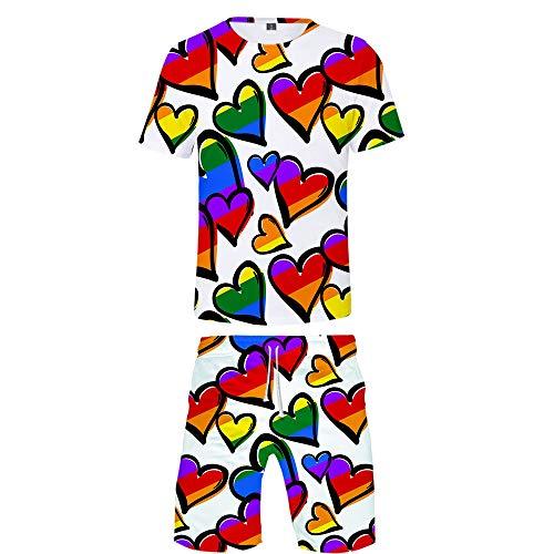 APHT Mujer Hombre Love is Love LGBT Gay Lesbian Pride 2 Piezas Deportiva T Shirt y Shorts Camiseta Manga Corta Top Chándal Ropa Deportiva