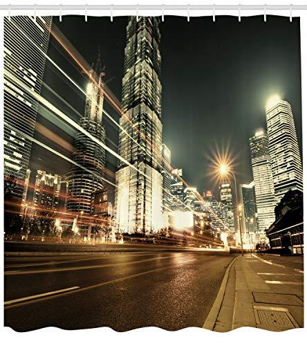 Stadt Duschvorhang Shanghai Finance Zone Ansicht Druck für Badezimmer