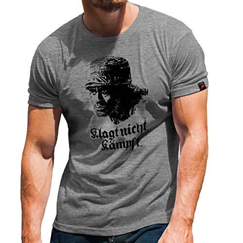 Klagt Nicht - kämpf Fallschirmjäger Grüner Teufel Helm FschJg T-Shirt#32513, Größe:XL, Farbe:Grau