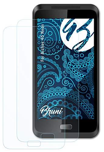 Bruni Schutzfolie kompatibel mit Archos 45 Neon Folie, glasklare Bildschirmschutzfolie (2X)
