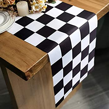 Letjolt Polyester Table Runner Black and White Checkerboard Racing Theme for Anniversary Runner Dinner Parties Supplies Birthday Party Wedding Decorations 12 x 72 Inches