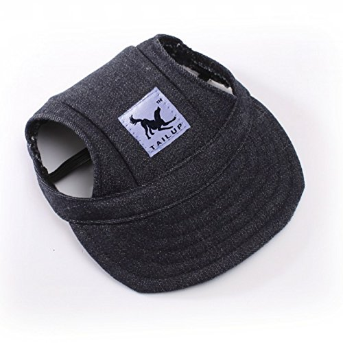 Leconpet Baseball Caps Hats with Neck Strap Adjustable Comfortable Ear Holes for Small Medium and Large Dogs in Ourdoor Sun Protection (M, Black Jeans)
