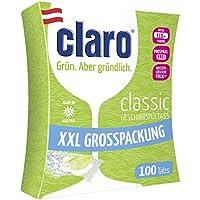 CLARO Classic XXL - 100 Pastillas Ecológicas Sin Fosfatos Para Lavavajillas - Capsulas Detergente con Membrana Disoluble en Agua