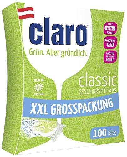 CLARO Classic XXL - 100 Pastilles Lave-Vaisselle - Tablettes Écologiques Sans Phosphates En Format Économique