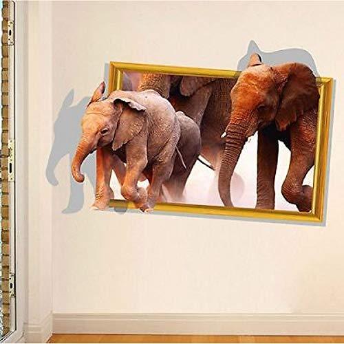 Preisvergleich Produktbild ZXFMT Wandaufkleber Hochwertige 3D Elefant Tier Entfernbare Wandaufkleber Room Decor Aufkleber Vinyl Wand UK 60 cm X 90 cm