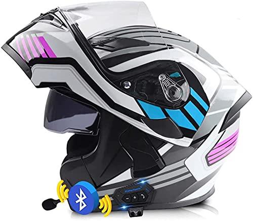 Casco Bluetooth Motocicleta Casco Modular Motocicleta Tipo Abatible Visera Solar Doble Casco Anticolisión Transpirable Certificado ECE/Dot Altavoz Incorporado Auricular Micrófono C,L=(59-60)