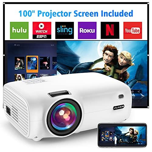 Proiettore, Vili Nice 6500 lumen Videoproiettore Portatile, mini proiettore 1080P Full HD, 100000 ore LED, compatibile con TV Stick, HDMI, SD, AV, VGA, USB, PS4, X-Box, iOS Android