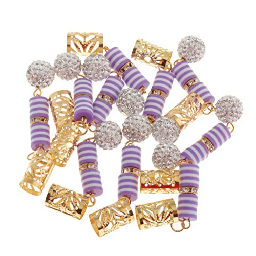MagiDeal 10 Pcs/Set Dreadlocks Perles Clip Pendentif Bricolage Cheveux Tresses Embellissements - Violet