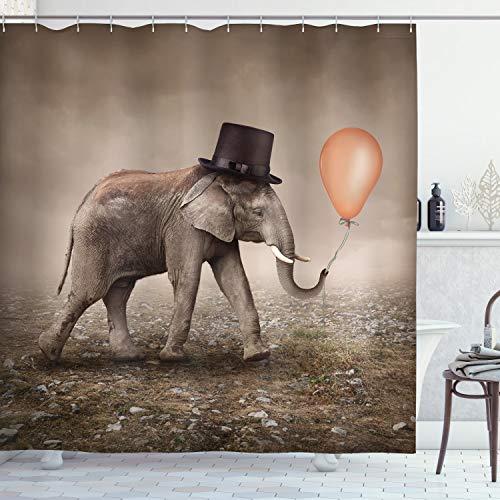 ABAKUHAUS Elefant Duschvorhang, Illusionist Elephant, Waserdichter Stoff mit 12 Haken Set Dekorativer Farbfest Bakterie Resistet, 175 x 220 cm, Taupe Tan Schwarz Orange