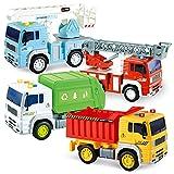JOYIN 4 Pack de Vehículos Urbanos de Fricción, Camión de Basura, Camión de Bomberos, camión Elevador de Pluma y camión volquete de construcción con Luces y Sonidos