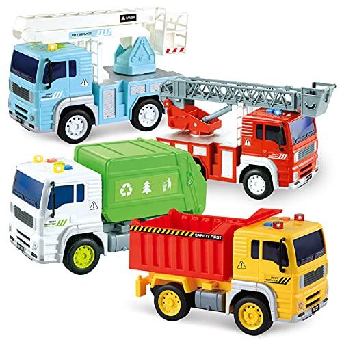 JOYIN 4 Pezzi Veicoli da Città Alimentati a Frizione Camion della Spazzatura, Camion dei Pompieri, Camion con Braccio Sollevato e Autocarro con Cassone Ribaltabile per Costruzioni con Luci e Suoni