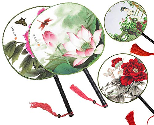 4PCS Round Double-Sided Pattern Chinese Ancient Hand Fan Classic Palace Paddle Hand Fan Dance Hand Fan