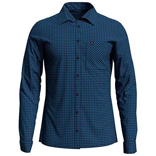 Odlo Herren Nikko Langarm-Hemd, Blue Aster-Diving Navy-Check, XXL