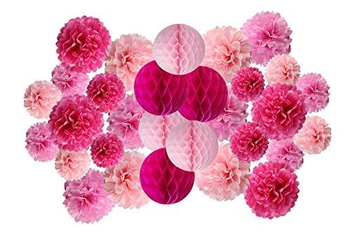 Matissa Papier-Pompons und Wabenbälle, 30 Stück, für Geburtstag, Hochzeit, Weihnachten, Vallentine, Schule, Party, Dekoration (rosa Farbton)