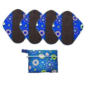 4 pcs U Pick Size Reusable Cloth Bamboo Charcoal Sanitary Pads/Maternity Mama Pads