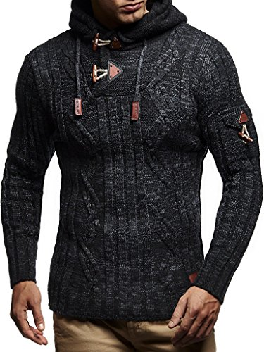 Leif Nelson LN5400 Men's Knitted Pullover With Cozy Hood,Black Anthracite,US-S / EU-M