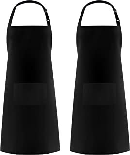Syntus 2 Pack Adjustable Bib Apron Thicker Version Waterdrop Resistant with 2 Pockets Cooking Kitchen Aprons for Women Men Chef, Black