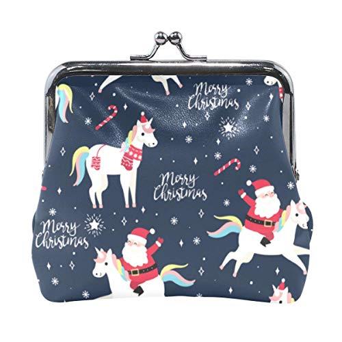 Brieftasche Frohe Weihnachten Santa Claus Ubicorn Bonbons Schneeflocke Navy Coin Geldbörse Beutel Leder Wechselhalter Karte Clutch Hand