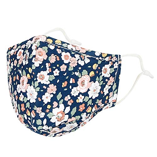 WITHMOONS Cotton Face Floral Bandana Filter Pocket Multiple Layers DN1033 (Navy)